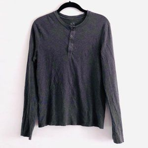 Armani Exchange Gray 3 Button Long Sleeve Top S
